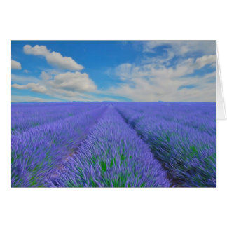 Beautiful landscape of lavender fields card