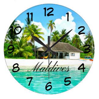 Beautiful Landscape Of Maldives Large Clock