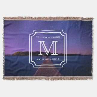 Beautiful Landscape Photo Monogram Handsome Simple Throw Blanket