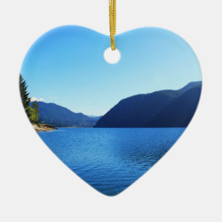 beautiful landscape photography of blue sky, lake, christmas ornament