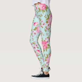 Beautiful Lavender And Pink Floral Pattern Leggings