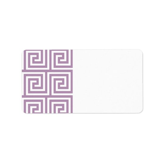 Beautiful Lavender and White Greek Key Pattern Address Label