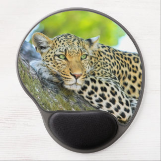 Beautiful leopard with green eyes gel mouse pad