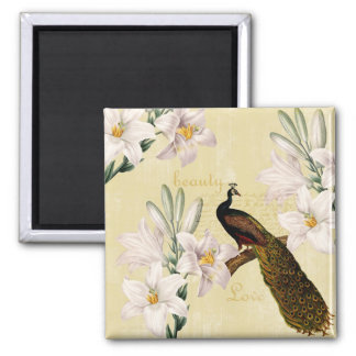 Beautiful Lilies Peacock Square Magnet