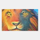 Beautiful Lion Head Portrait Regal and Proud Rectangular Sticker