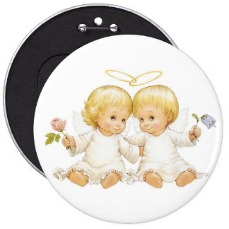 beautiful little angels 6 cm round badge