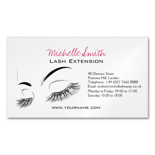 Beautiful long eyelashes Lash Extension Magnetic Business Cards