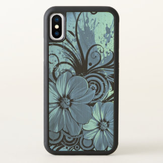 beautiful love blue flowers swirl art iPhone x case