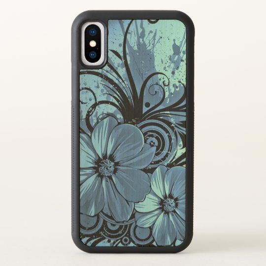 beautiful love blue flowers swirl art iPhone x