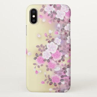 beautiful love pink  flowers swirl art iPhone x case