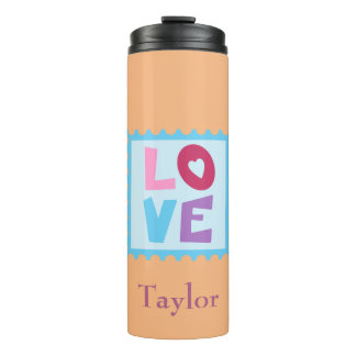 Beautiful Love Stamp set upon a peach background Thermal Tumbler
