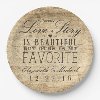 Beautiful Love Story Rustic Barn Wood Wedding Paper Plate