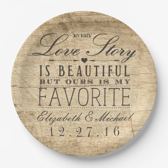 Beautiful Love Story Rustic Barn Wood Wedding Paper
