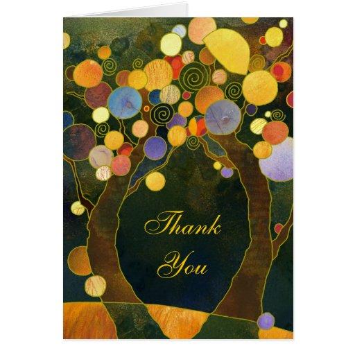 Beautiful Love Trees Wedding Thank You Folded Card