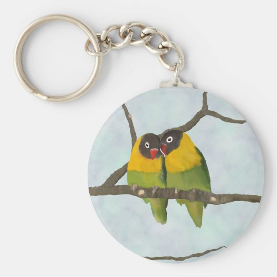 Beautiful Lovebirds Original Painting Basic Round Button Key Ring