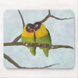 Beautiful Lovebirds Original Painting Mouse Mat