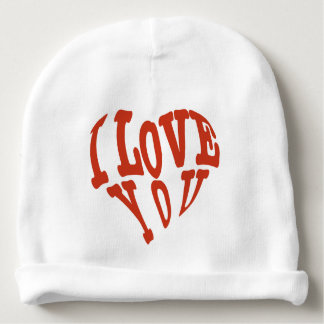 Beautiful lovely I love you red hearts vector art Baby Beanie