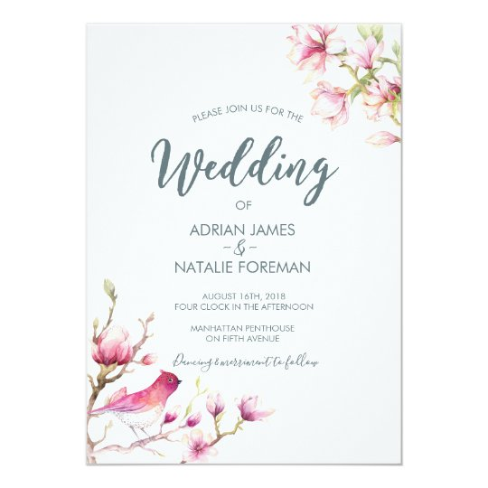 Beautiful Magnolia Floral Wedding invitation
