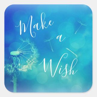 Beautiful Make a Wish Lucky Dandelion Blue Sticker