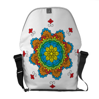 Beautiful mandala desing flower design indian vect messenger bag