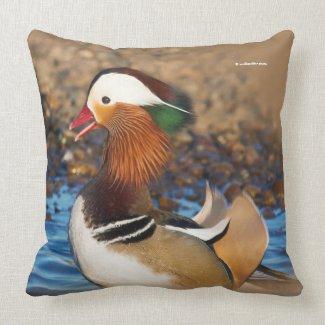 Beautiful Mandarin Duck on the Rocks Cushion