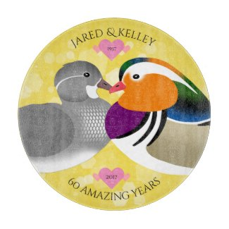 Beautiful Mandarin Ducks: Any Anniversary Year Cutting Board