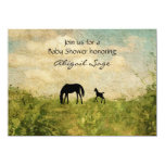 Beautiful Mare and Foal Horse Baby Shower Invite 11cm X 16cm Invitation Card