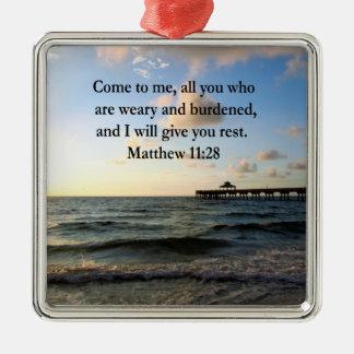 BEAUTIFUL MATTHEW 11:28 SCRIPTURE VERSE CHRISTMAS ORNAMENT