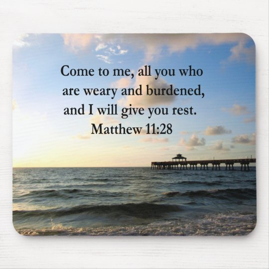 BEAUTIFUL MATTHEW 11:28 SCRIPTURE VERSE MOUSE PAD