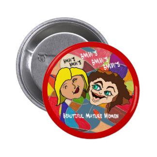 Beautiful Mature Women Button with Circle Rim