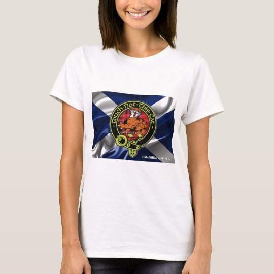 Beautiful McGillivray Badge set on Scottish Flag! T-Shirt
