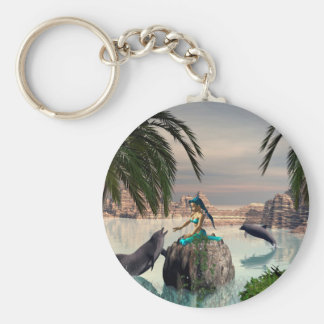 Beautiful mermaid basic round button key ring