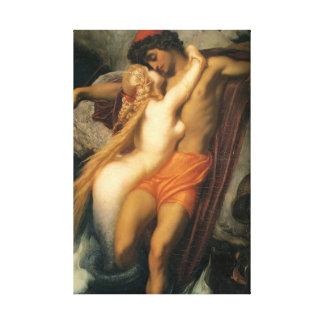 Beautiful Mermaid Couple in Love Human & Mermaid Canvas Prints