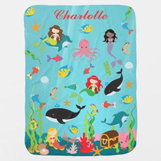 Beautiful Mermaids & Sea Life Custom Name Baby Blanket