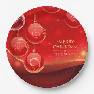 Beautiful Merry Christmas 9 Inch Paper Plate