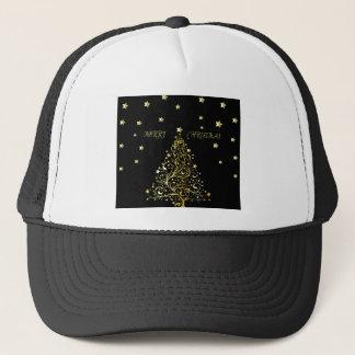 Beautiful metallic gold Christmas tree on black ba Trucker Hat