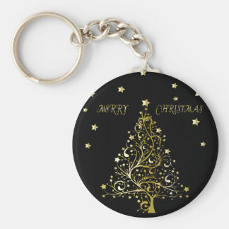 Beautiful metallic gold Christmas tree on black Basic Round Button Key Ring