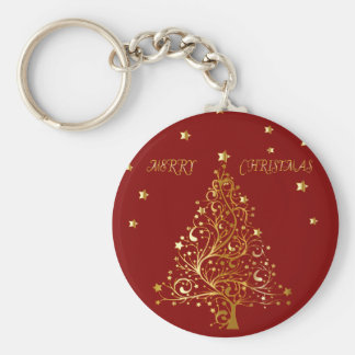 Beautiful metallic gold Christmas tree on dark red Basic Round Button Key Ring