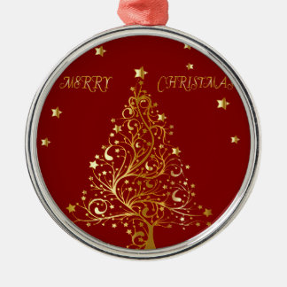 Beautiful metallic gold Christmas tree on dark red Christmas Ornament