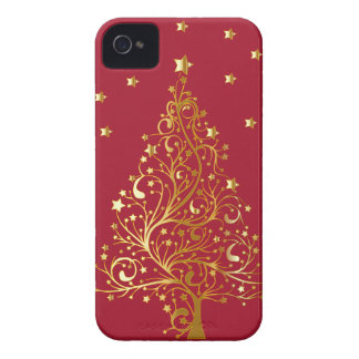 Beautiful metallic gold Christmas tree on dark red iPhone 4 Case-Mate Cases