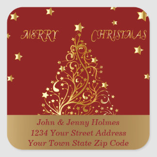 Beautiful metallic gold Christmas tree on dark red Square Sticker