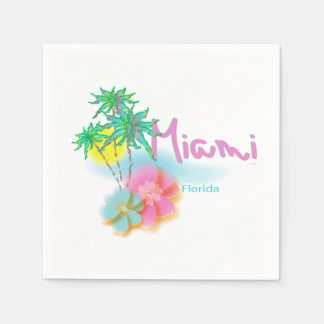 Beautiful Miami Florida Napkins Disposable Serviette