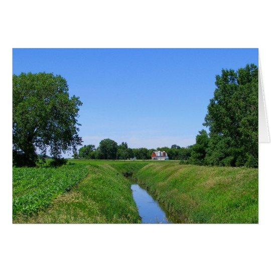 Beautiful Minnesota farm irrigation ditch photo Card