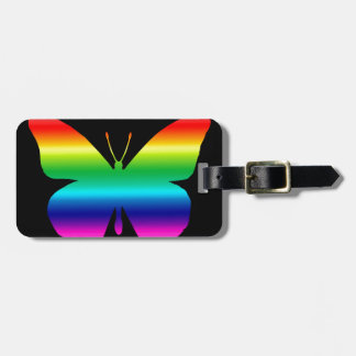 Beautiful Monarch Butterfly in Rainbow on Black Bag Tags