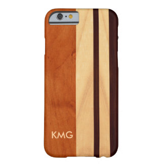Beautiful Monogrammed Wood Stripes Pattern Barely There iPhone 6 Case