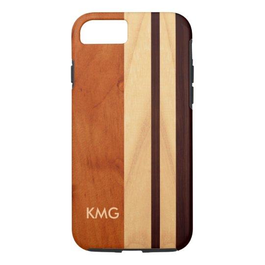 Beautiful Monogrammed Wood Stripes Pattern iPhone 7 Case
