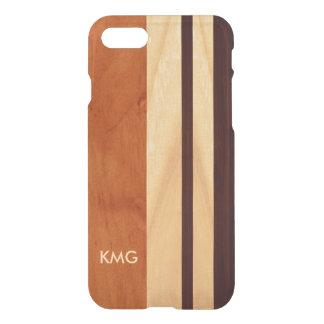 Beautiful Monogrammed Wood Stripes Pattern iPhone 8/7 Case