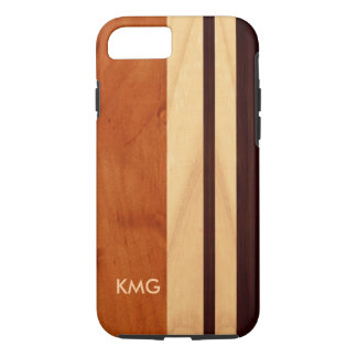 Beautiful Monogrammed Wood Stripes Pattern iPhone 8/7 Case