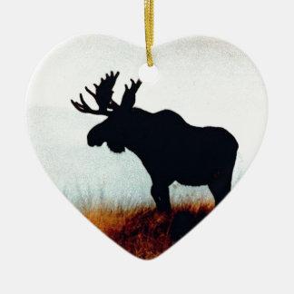Beautiful Moose Ceramic Heart Decoration
