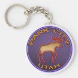 Beautiful Moose Medallion Park City Souvenir Keychains